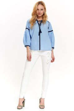 Bluza dama Top Secret albastra casual cu croi larg cu maneca 3/4