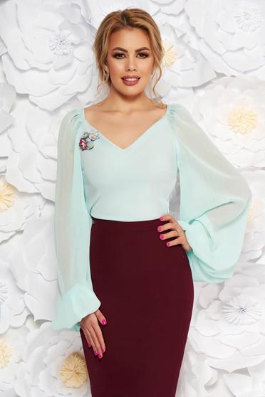 Bluza dama StarShinerS mint eleganta cu decolteu maneci transparente cu decolteu in v cu aplicatii florale