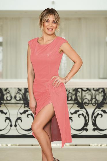 Rochie StarShinerS roz prafuit de ocazie cu un croi mulat material stralucitor captusita pe interior
