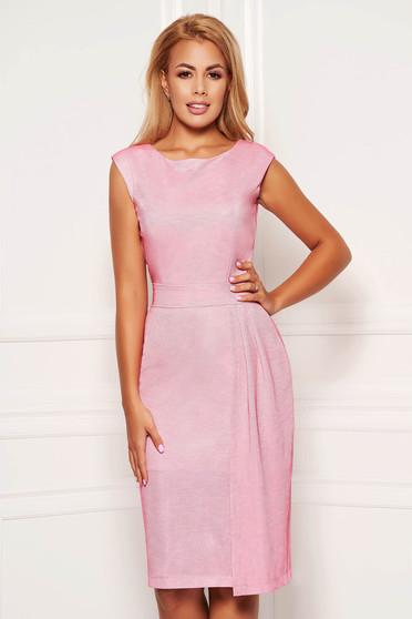 Rochie StarShinerS roz deschis de ocazie cu un croi mulat material stralucitor captusita pe interior