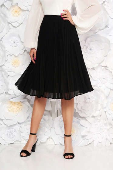 Fusta StarShinerS neagra eleganta plisata in clos din voal cu talie inalta