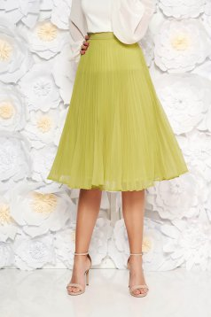 Fusta StarShinerS verde-deschis eleganta plisata in clos din voal cu talie inalta