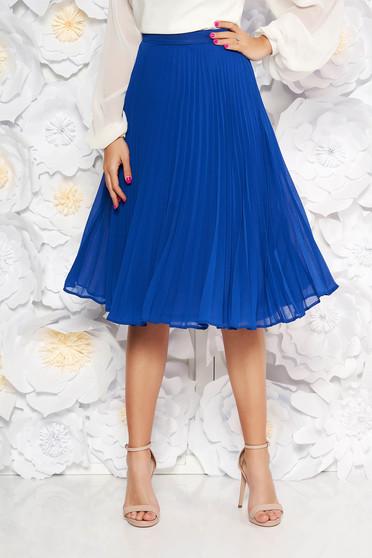 Fusta StarShinerS albastra eleganta plisata in clos din voal cu talie inalta