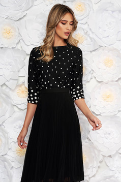 Bluza dama neagra StarShinerS eleganta cu croi larg din material subtire cu buline