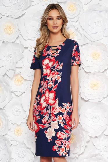 Rochie albastra-inchis eleganta midi tip creion cu imprimeuri florale