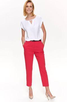 Bluza dama Top Secret alba eleganta cu croi larg cu maneca scurta din material usor transparent