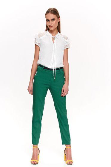Pantaloni Top Secret verzi office conici cu talie medie accesorizati cu cordon