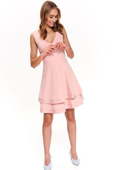 Rochie Top Secret rosa eleganta in clos cu decolteu in v fara maneci