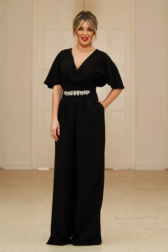StarShinerS black occasional long jumpsuit short sleeve with v-neckline flaring cut with embellished accessories