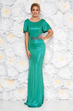 Rochie StarShinerS verde tip sirena cu spatele gol si detalii handmade