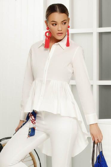 Camasa dama alba asimetrica cu croi larg din material subtire cu maneca lunga