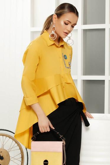 Camasa dama galbena eleganta cu croi larg asimetrica din material vaporos