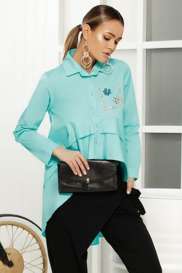 Camasa dama turcoaz eleganta cu croi larg asimetrica din material vaporos