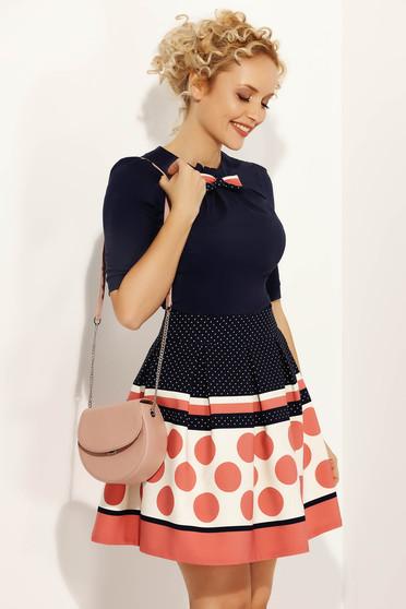 Fusta Fofy albastra-inchis cu accente rosa office in clos din material usor elastic cu talie inalta