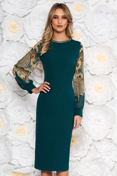 Rochie verde-inchis de ocazie cu un croi mulat cu aplicatii cu margele maneci transparente