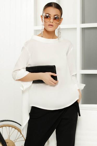Bluza dama alba eleganta asimetrica cu croi larg din material usor transparent