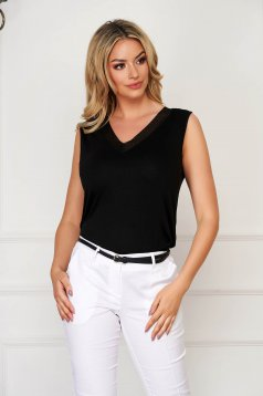 Black women`s blouse casual flared sleeveless with v-neckline