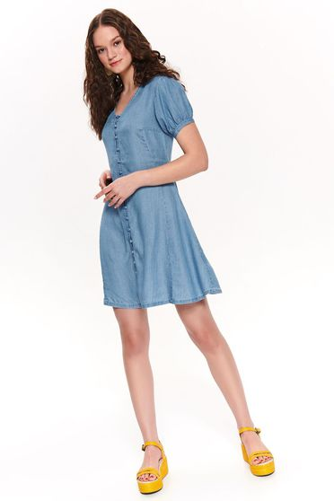 Rochie Top Secret albastra de zi in clos din material subtire cu maneci scurte