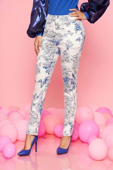 Pantaloni albe Top Secret eleganti cu talie medie din bumbac neelastic cu imprimeu floral