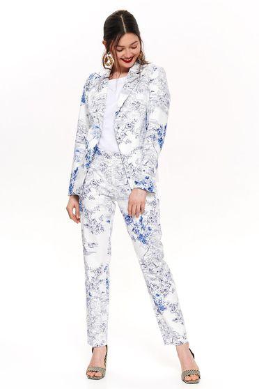 Sacou Top Secret alb elegant tip blazer cambrat din bumbac neelastic cu imprimeu floral