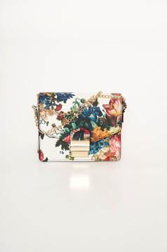 Geanta dama alba din piele ecologica cu imprimeu floral