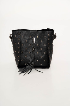 Top Secret black bag with tassels with metallic spikes