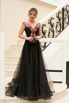 StarShinerS black long cloche dress from tulle manual sewed embroidery