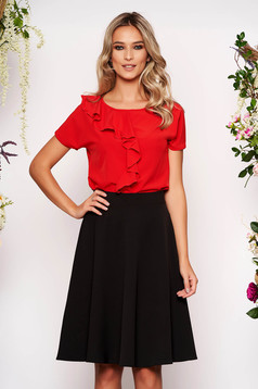 StarShinerS red women`s blouse short sleeve with ruffle details thin fabric