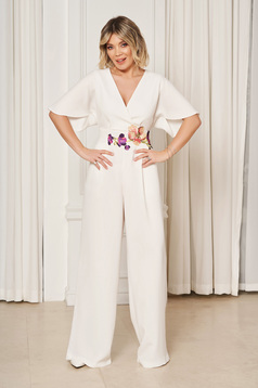 StarShinerS white occasional flared jumpsuit with v-neckline with embroidery details