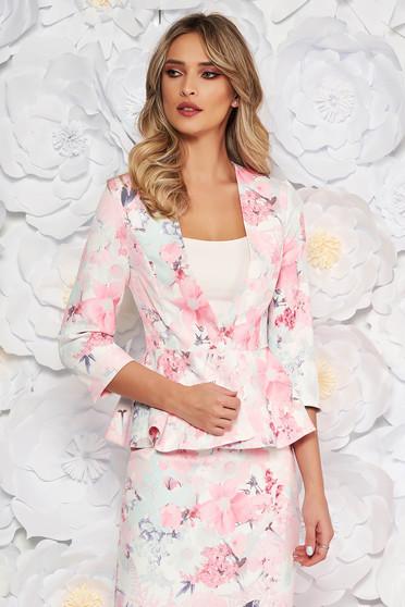 Sacou StarShinerS roz deschis elegant cambrat din stofa subtire usor elastica cu maneci trei-sferturi si peplum