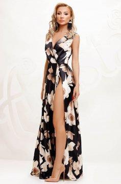 Rochie neagra de ocazie in clos cu decolteu adanc din material satinat cu imprimeu floral