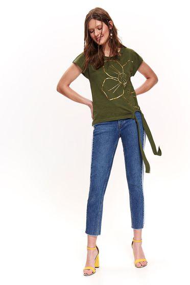 Tricou Top Secret verde casual din bumbac neelastic cu croi larg