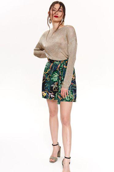 Pantalon scurt Top Secret negru casual cu imprimeu floral accesorizat cu cordon