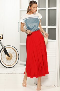 Fusta rosie eleganta plisata cu talie medie in clos din voal