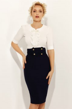 Fofy white elegant women`s shirt 3/4 sleeve with tented cut slightly elastic cotton with pearls