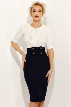 Camasa dama Fofy alba eleganta cu maneca 3/4 cu un croi mulat din bumbac usor elastic cu aplicatii cu perle