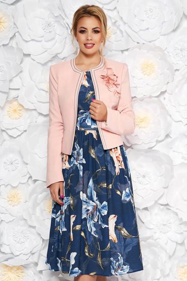 Compleu LaDonna albastru-inchis elegant din 2 piese cu rochie cu imprimeu floral