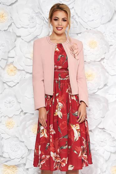 Compleu LaDonna visiniu elegant din 2 piese cu rochie cu imprimeu floral