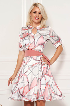PrettyGirl rosa elegant daily cloche dress from satin fabric texture with graphic details accessorized with tied waistband