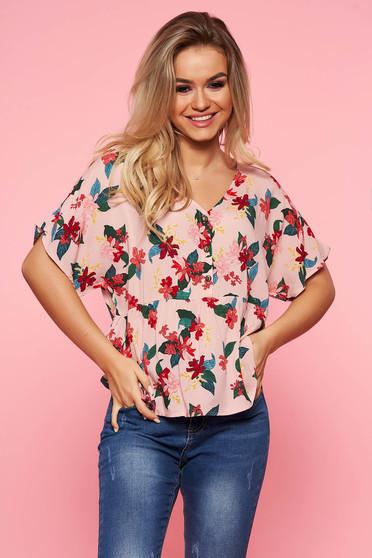 Bluza dama Top Secret roz casual cu croi larg din material vaporos cu imprimeuri florale