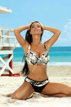 Cream swimsuit from two pieces with normal bra adjustable straps with classical slip
