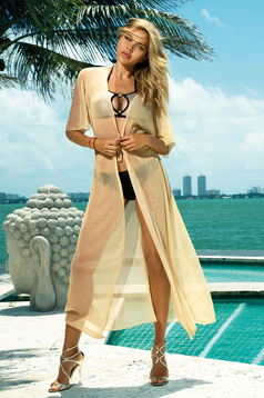 Rochie crem de plaja lunga din material transparent fir stralucitor accesorizata cu snur