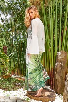 Rochie Cosita Linda verde de plaja cu croi larg cu maneca lunga din material usor transparent cu imprimeuri florale cu snur in talie