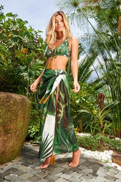 Pareo Cosita Linda verde-inchis de plaja din material transparent cu imprimeuri florale