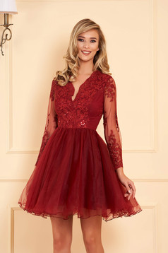 Artista burgundy occasional cloche dress with push-up cups from laced fabric with sequin embellished details