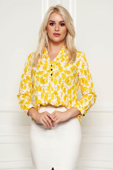 Bluza dama Fofy galbena asimetrica cu croi larg din material subtire cu imprimeuri florale