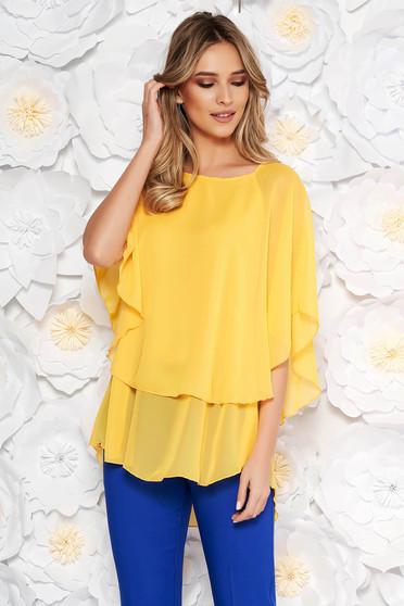 Bluza dama galbena eleganta asimetrica cu croi larg din voal
