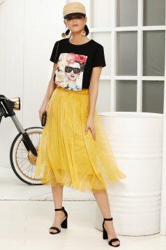Black casual flared t-shirt short sleeve thin fabric