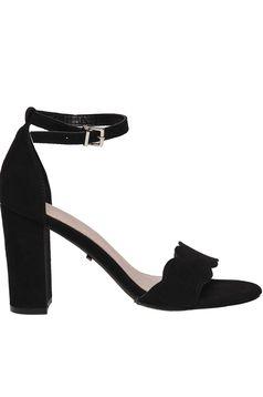Sandale Top Secret negre elegante cu toc gros