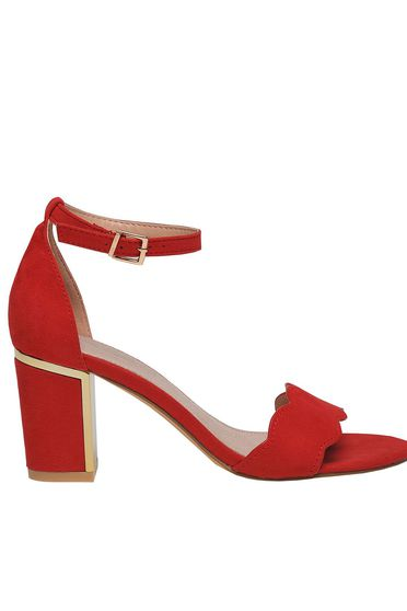 Sandale Top Secret rosii elegante cu toc gros